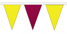 YELLOW AND CLARET TRIANGULAR BUNTING - 10m / 20m / 50m LENGTHS